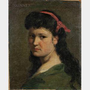 Vlaho Bukovac (Croatian, 1855-1922)      Portrait of a Girl