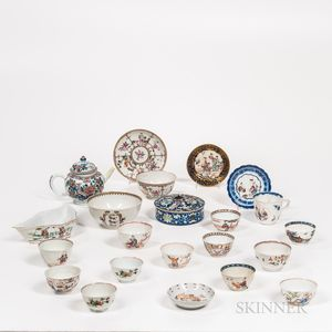 Twenty-two Export Enameled Porcelain Items