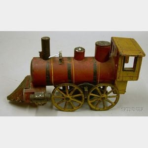 Red and Yellow Painted Wood, Iron, and Tin Toy Locomotive