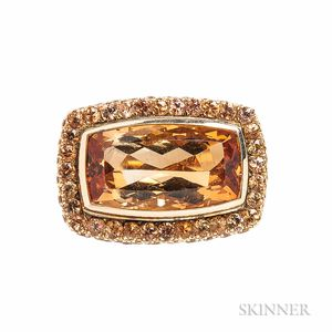 18kt Gold, Citrine, and Fancy-colored Sapphire Ring