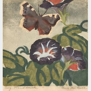 Erna Fenkohl (Belgian, 1882-1975)      Lot of Four Still Lifes with Flowers and Insects.
