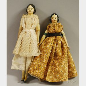 "Two Small Papier-mache ""Milliner's Model"" Dolls"