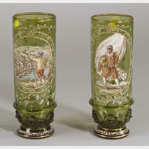 Pair of Bohemian Enameled Decorated Glass Vases