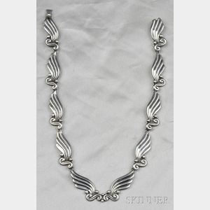 Sterling Silver Necklace and Earclips, Margot de Taxco