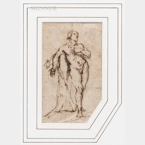Anglo-Dutch School, 17th Century      Standing Male Nude Leaning Against a Tree Trunk