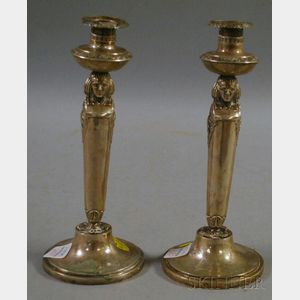 Pair of Weishaupt Silver Egyptian Revival Candlesticks