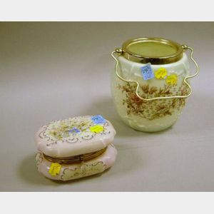 Wavecrest Gilt-metal Mounted Enamel Floral Decorated Glass Lidded Box and a   Victorian Transfer Decorated Glass Cracker Jar