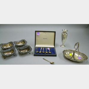 Six-piece Tiffany Sterling Silver Cased Demitasse Set with Other Serving Items