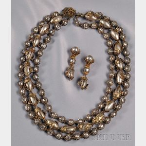 Rare Prototype Three-strand Necklace and Earpendants, Miriam Haskell