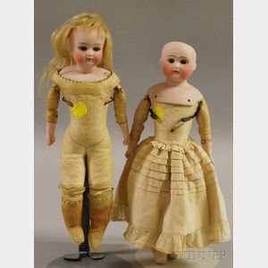 Two Closed Mouth German Bisque Shoulderhead Dolls