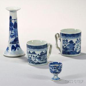 Four Canton Porcelain Table Items