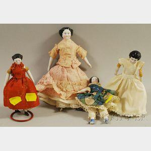 Four Small China Head Dolls