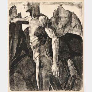 John Copley (British, 1875-1950)      Walking Male Torso in Rocky Landscape