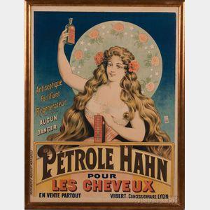 Framed Advertising Poster:      Petrole Hahn pour les cheveux