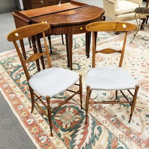 Pair of Continental Neoclassical-style Inlaid Fruitwood Side Chairs