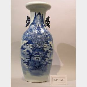 Three Chinese Export Porcelain Blue and White Floor Vases.