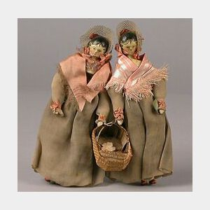 Pair of Grodnertal Wooden Dolls