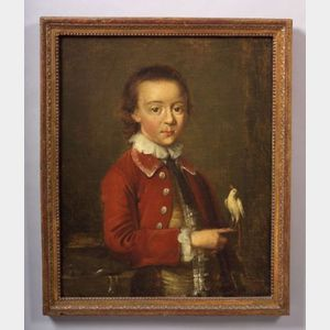 Attributed to John Wollaston (British, active 1742-1775)    Boy in a Red Waistcoat and Holding a White Cockatoo.