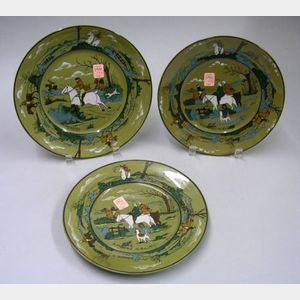 "Three Buffalo Pottery Deldare Ware ""Fallowfield Hunt"" Plates"