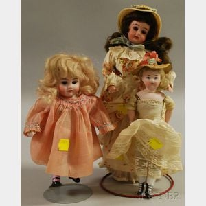 Three Small Bisque Dolls