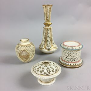 Four Royal Worcester Reticulated Porcelain Tableware Items