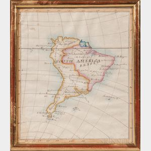 Hand-drawn and Watercolored Map of South America