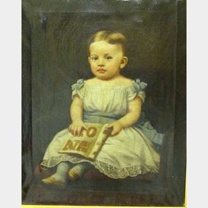 American School, 19th/20th century    Little Girl with Alphabet Book
