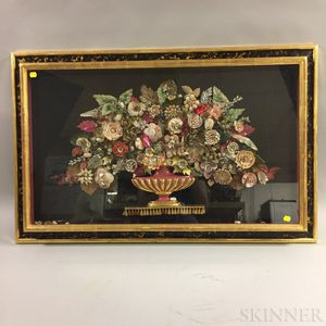 Framed Mixed Media and Shellwork Flowering Urn