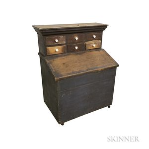 Blue-painted Pine Six-drawer Grain Bin