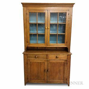 Country Glazed Pine Step-back Cupboard