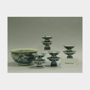 Twenty Chinese Export Porcelain Blue and White Bowls and Small Pedestal Dishes.