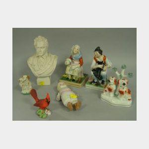 Seven Staffordshire, Bisque, Porcelain and Parian Figurals.