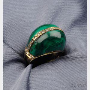 14kt Gold, Malachite, and Diamond Ring