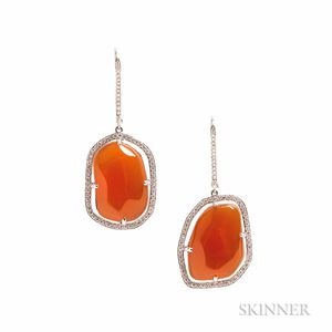 18kt White Gold, Carnelian, and Diamond Earrings
