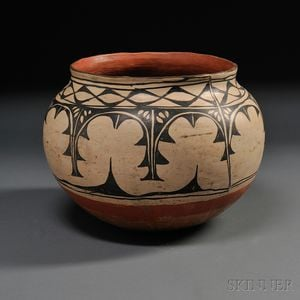 Sold for: $22,800 - Large Cochiti Painted Pottery Storage Jar