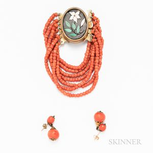 Multi-strand Coral Bead Bracelet with Pietra Dura Clasp and a Pair of Coral Earrings