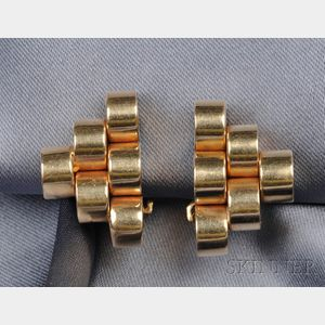 Retro 14kt Gold Earclips