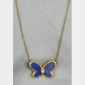18kt Gold, Lapis, and Diamond Pendant/Necklace, Van Cleef & Arpels