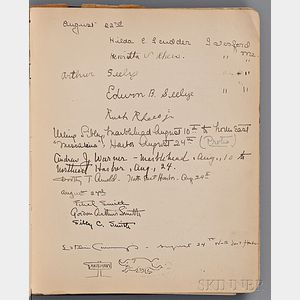 Cummings, Edward Estlin (1894-1962) Signed Unpublished Manuscript Poem within a Ship's Guest Book, 24 August 1916.