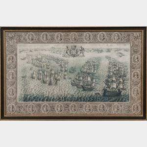 Engraving After the Tapestry Hangings of the House of Lords, Representing the Several Engagements between the English and Spanish Fleet