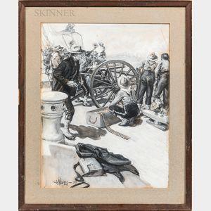 Two Illustrations En Grisaille  :    Charles David Williams (American, 1875-1954), Firing the Shipboard Gatling Gun