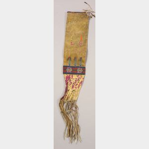 Central Plains Beaded and Quilled Buffalo Hide Pipe Bag