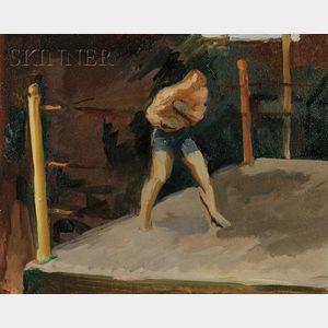 Donald Carlisle Greason (American, b. 1897), Lot of Three Boxing Views of Al McCoy, né Florian LeBrasseur, Shadow Boxing at Sharkeys G