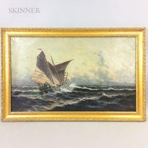 Wilhelm (Vilhelm) Melbye (Danish, 1824-1882)      Sailing Vessel in Heavy Seas.