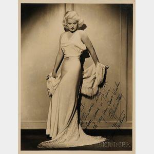 """Jean Harlow """"Autographed"""" Portrait Photograph"""