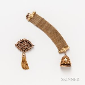 Victorian Gold-filled Enameled Brooch and a Gold-filled Lion Fob