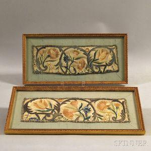 Pair of Framed Silk Needlework Fragments