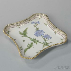 "Three Royal Copenhagen ""Flora Danica"" Porcelain Square Dishes"