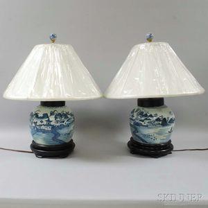Two Canton Porcelain Ginger Jars
