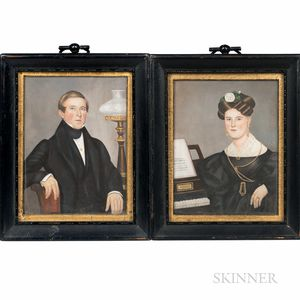 American School, 19th Century      Pair of Miniature Portraits of a Man and Woman